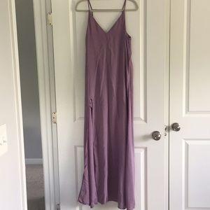 Light purple maxi dress with leg slit & open back